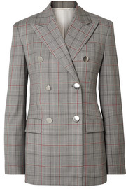 Double-breasted Prince of Wales checked wool blazer