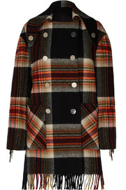 + Pendleton double-breasted fringed checked wool coat