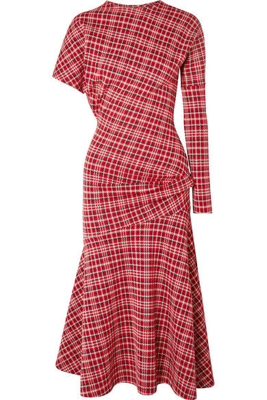 716cca89d2 Calvin Klein 205W39Nyc Long-Sleeve Asymmetric Plaid Midi Dress W/ Flounce  Hem In Brick