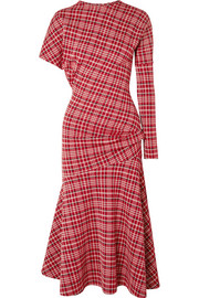 CALVIN KLEIN 205W39NYC Asymmetric Prince of Wales checked cady midi dress
