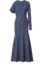 CALVIN KLEIN 205W39NYC Asymmetric Prince of Wales checked cady maxi dress