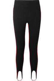 Striped stretch-wool blend stirrup leggings