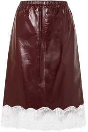 CALVIN KLEIN 205W39NYC Lace-trimmed leather skirt