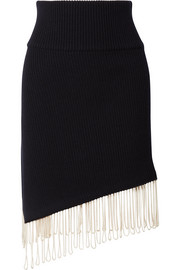 CALVIN KLEIN 205W39NYC Asymmetric fringed ribbed-knit skirt