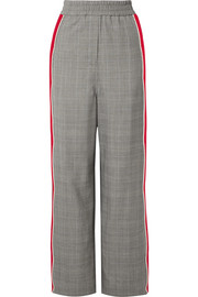 CALVIN KLEIN 205W39NYC Striped Prince of Wales checked wool straight-leg pants