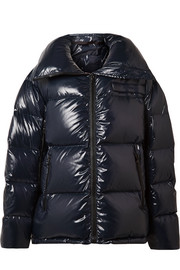 Oversized quilted coated-shell jacket