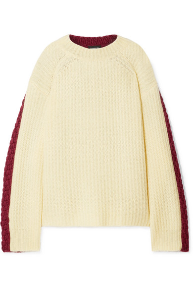 CALVIN KLEIN 205W39NYC - Oversized Two-tone Wool And Mohair-blend Sweater - Pastel yellow
