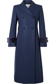 Fendi Faux fur-trimmed wool-blend coat