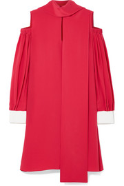 Fendi Cold-shoulder silk crepe de chine mini dress