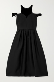 Fendi Cold-shoulder velvet-trimmed wool and silk-blend midi dress