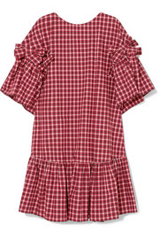 Fendi Bow-detailed checked cotton-poplin mini dress