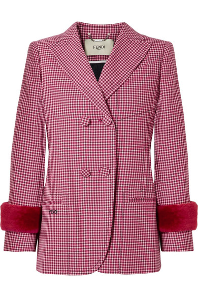 FENDI SHEARLING-TRIMMED HOUNDSTOOTH WOOL BLAZER