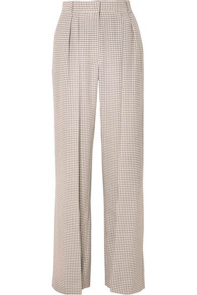 Pleated Checked Wool Wide Leg Pants by Fendi
