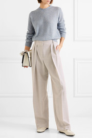 Pleated checked wool wide-leg pants