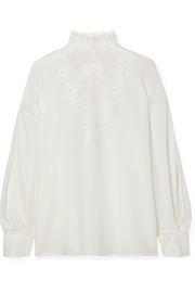 Fendi Broderie anglaise silk crepe de chine blouse