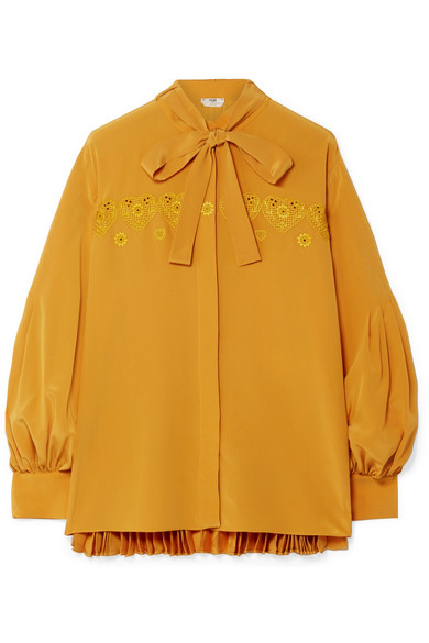 4d1d0717b3e17 Fendi. Pussy-bow embroidered pleated silk crepe de chine blouse