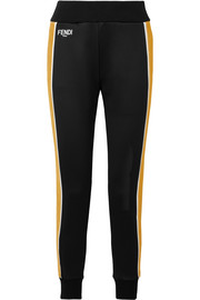 Fendi Roma printed velvet-trimmed stretch-ponte track pants