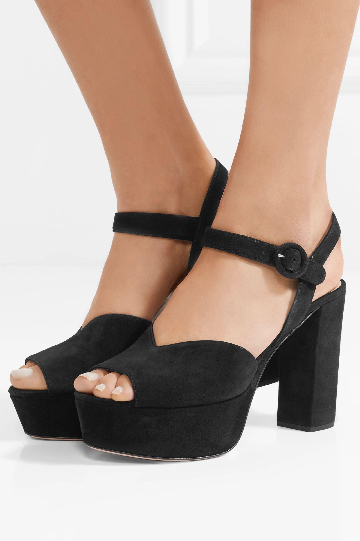 Black 105 suede platform sandals