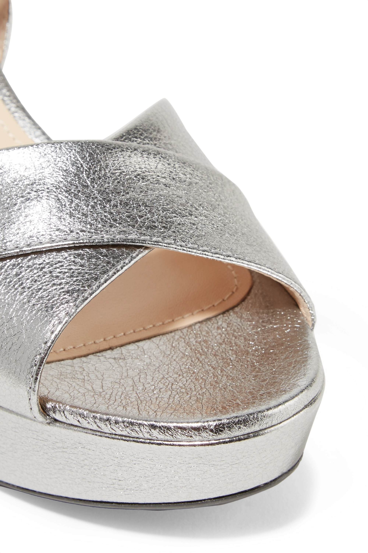 Silver 65 metallic textured-leather