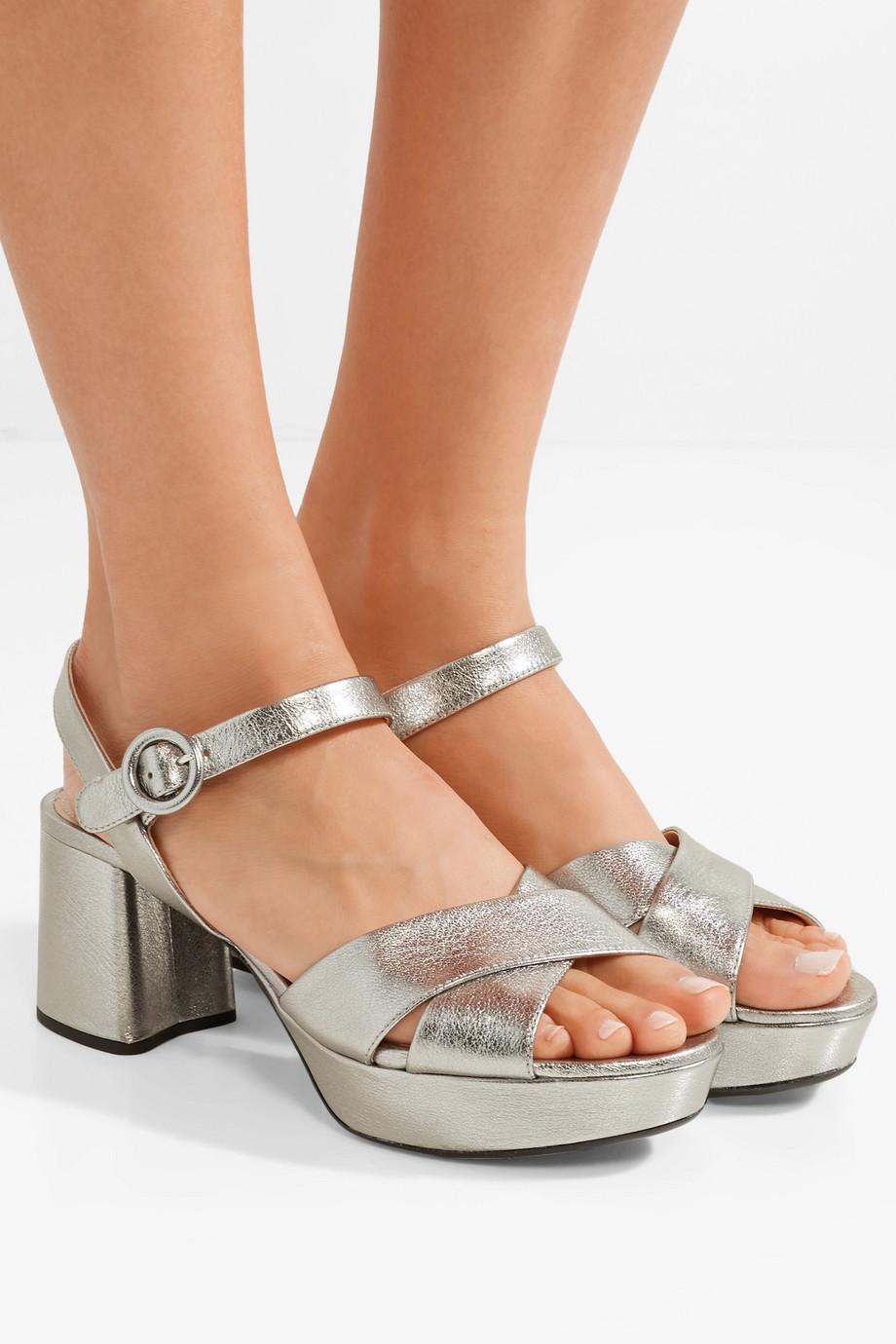 Prada 65 metallic textured-leather platform sandals