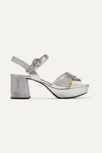 ae632873ce04 Prada. Metallic textured-leather platform sandals