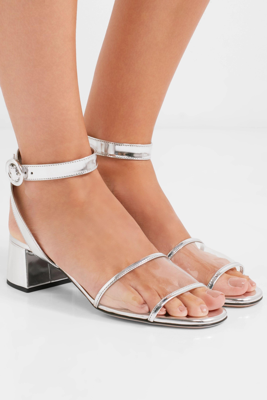 Prada Metallic leather and PVC sandals