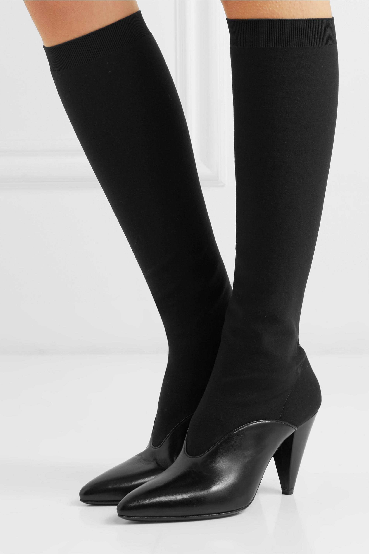 leather knee sock boots   Prada
