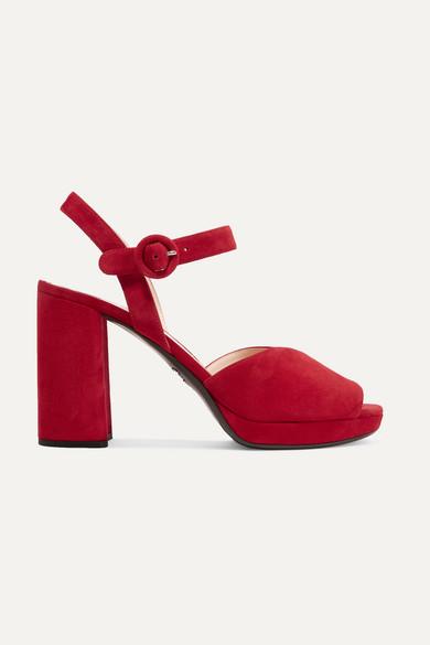 PradaSuede Platform Sandals oWGzs