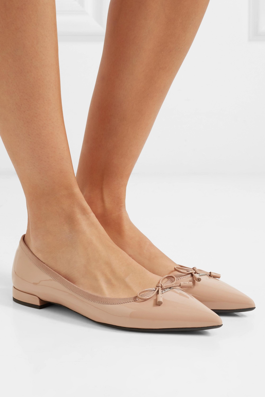 Neutral Patent-leather ballet flats