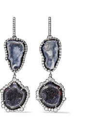 18-karat blackened white gold, geode and diamond earrings