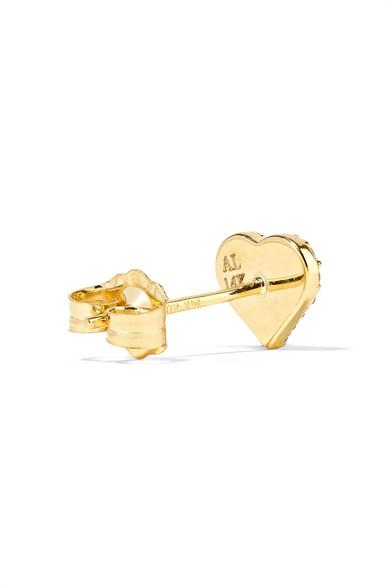 Heart 14-karat Gold, Diamond And Enamel Earring - one size Alison Lou