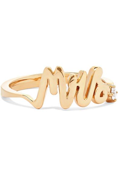 ALISON LOU Mrs 14-karat gold diamond ring