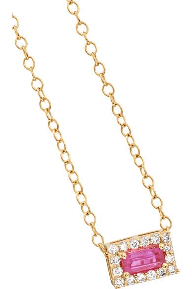 Alison Lou 14-karat Gold, Sapphire And Diamond Necklace