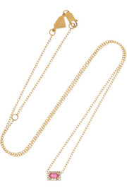 14-karat gold, sapphire and diamond necklace