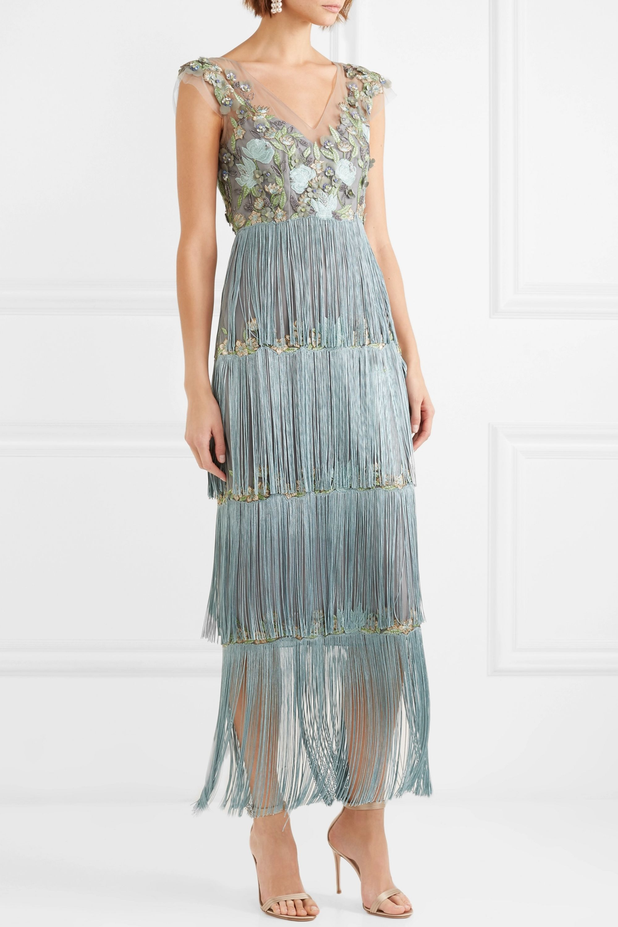 Marchesa Notte Fringed embellished tulle and satin gown
