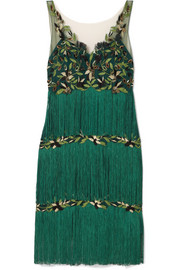 Fringed embroidered tulle dress