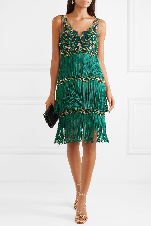 Kleid aus besticktem Tüll mit Fransen