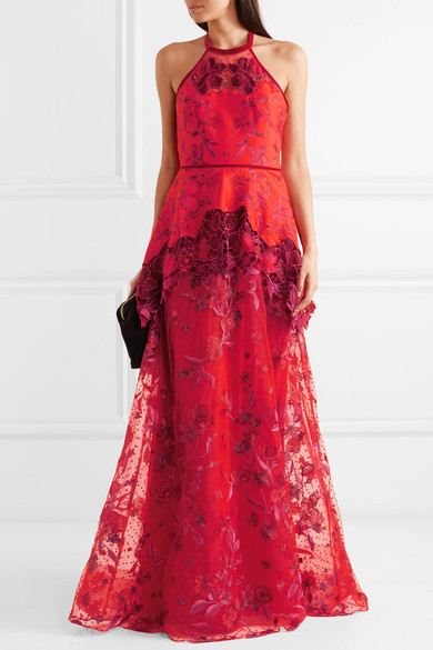 Embroidered Neoprene, Point Desprit And Guipure Lace Gown - US12 Marchesa