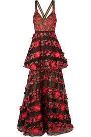 Embroidered Flocked Tulle Mini Dress - US10 Marchesa Low Price Fee Shipping Sale Online b8QzLgfiF