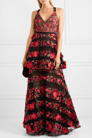Marchesa Notte Embroidered point d'esprit tulle gown