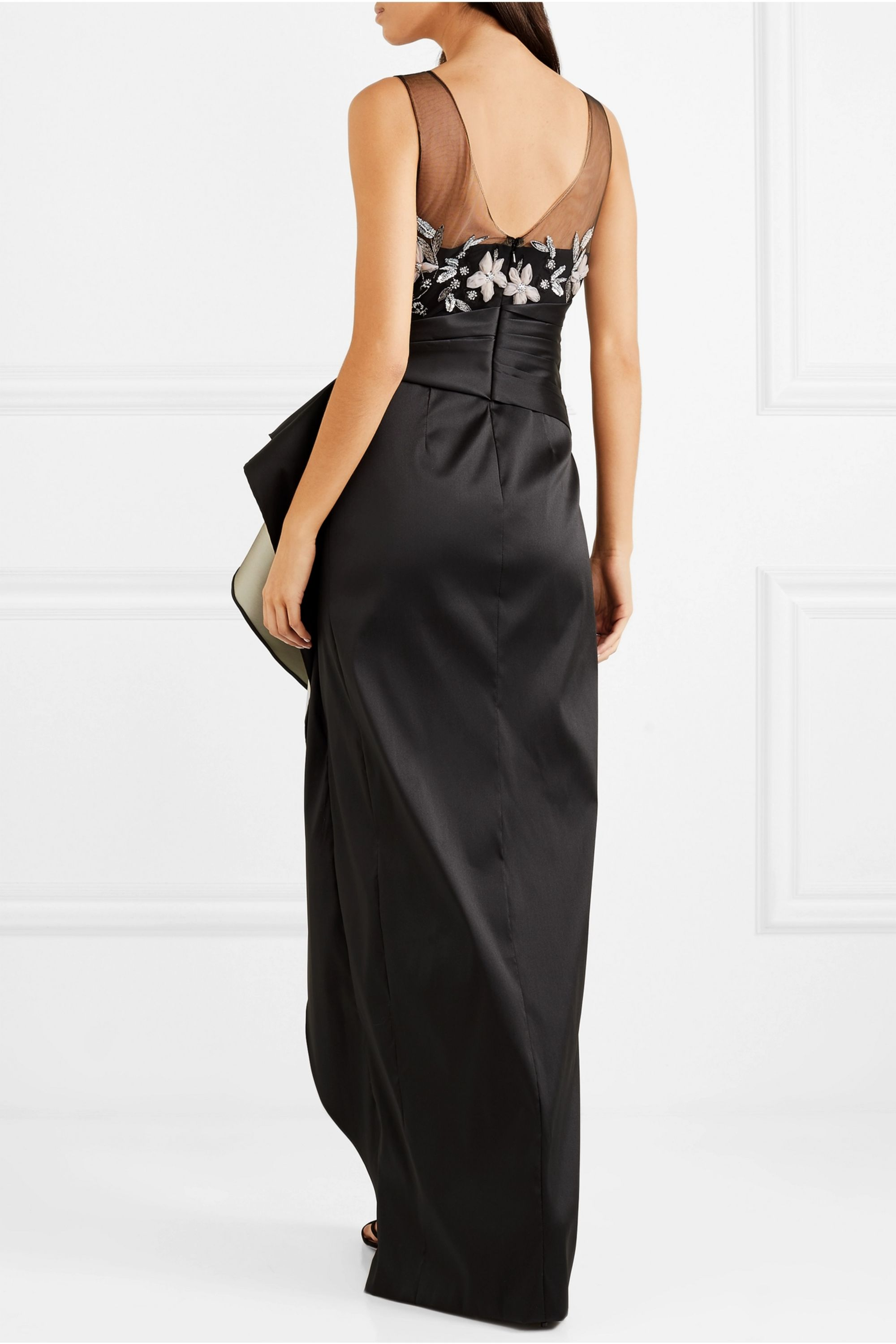 Marchesa Notte Ruffled mikado and embellished tulle gown