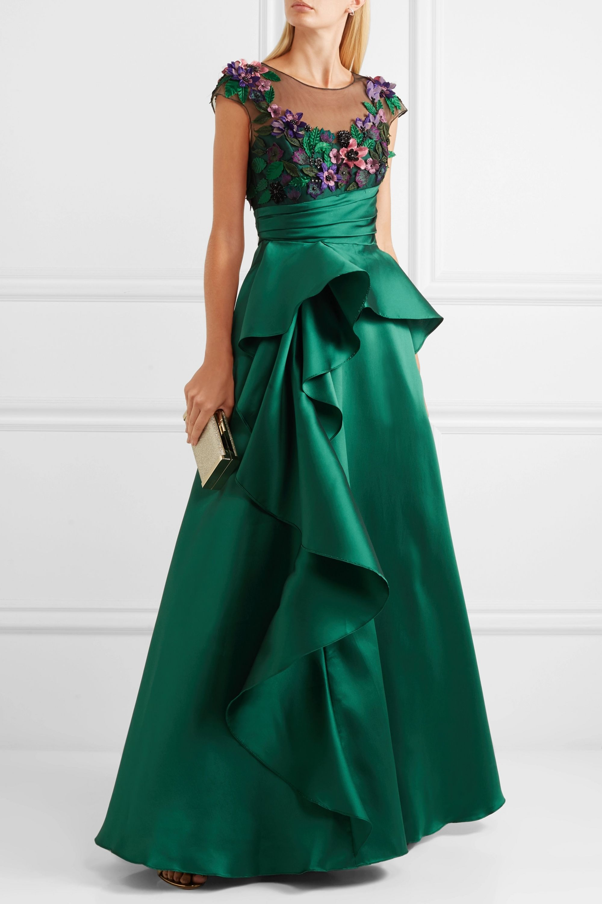 Marchesa Notte Ruffled mikado and appliquéd tulle gown