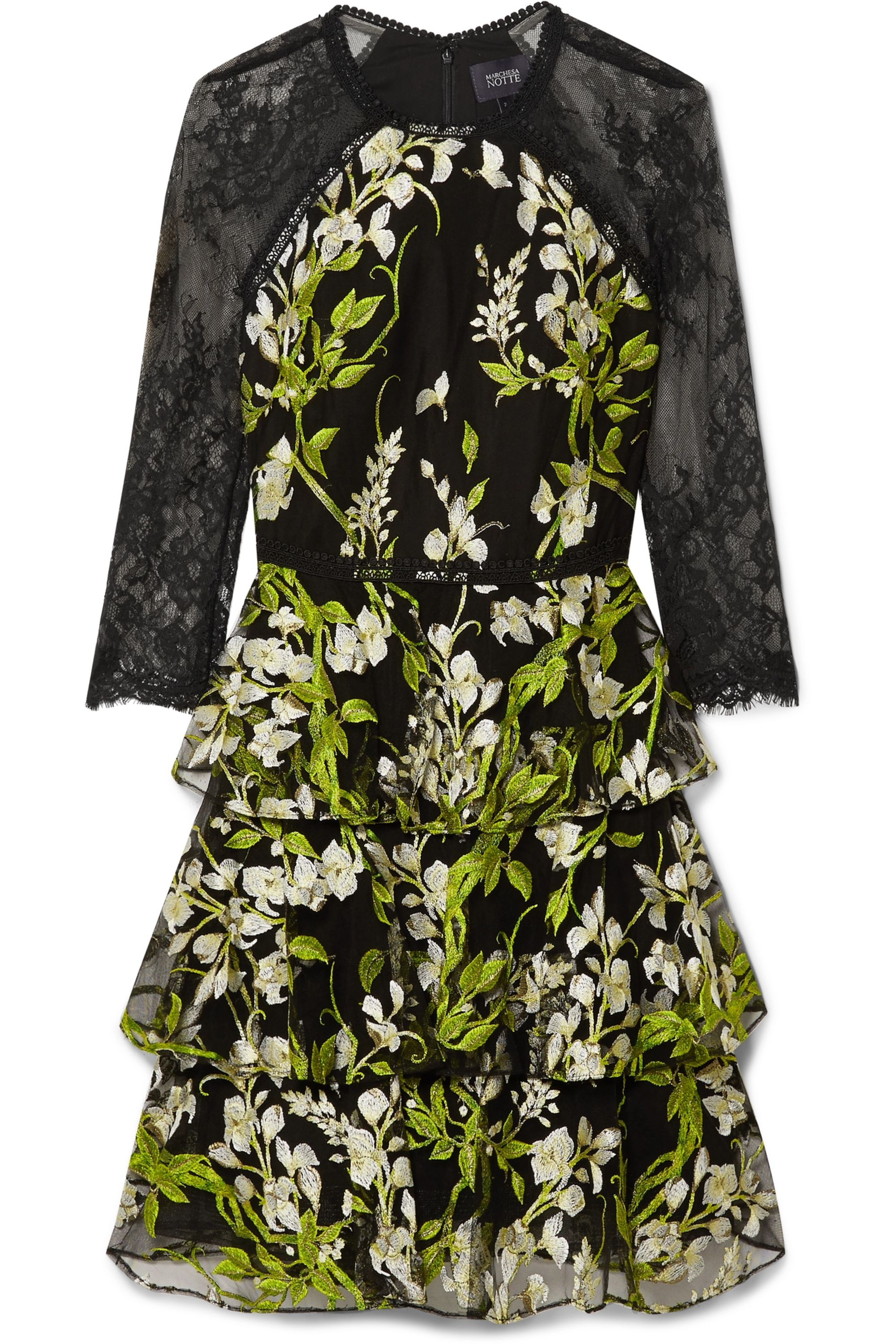 Marchesa Notte Tiered embroidered tulle and lace mini dress