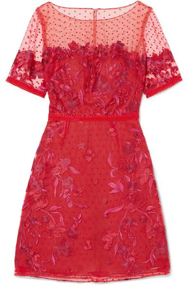Embroidered Flocked Tulle Mini Dress - US10 Marchesa Enjoy Sale Online jRAFdq0gu