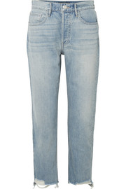 W3 Higher Ground cropped frayed high-rise straight-leg jeans