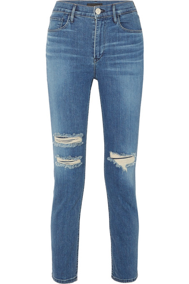 W4 Colette Cropped Distressed High-Rise Slim-Leg Jeans in Mid Denim