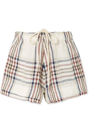 Checked linen-canvas shorts