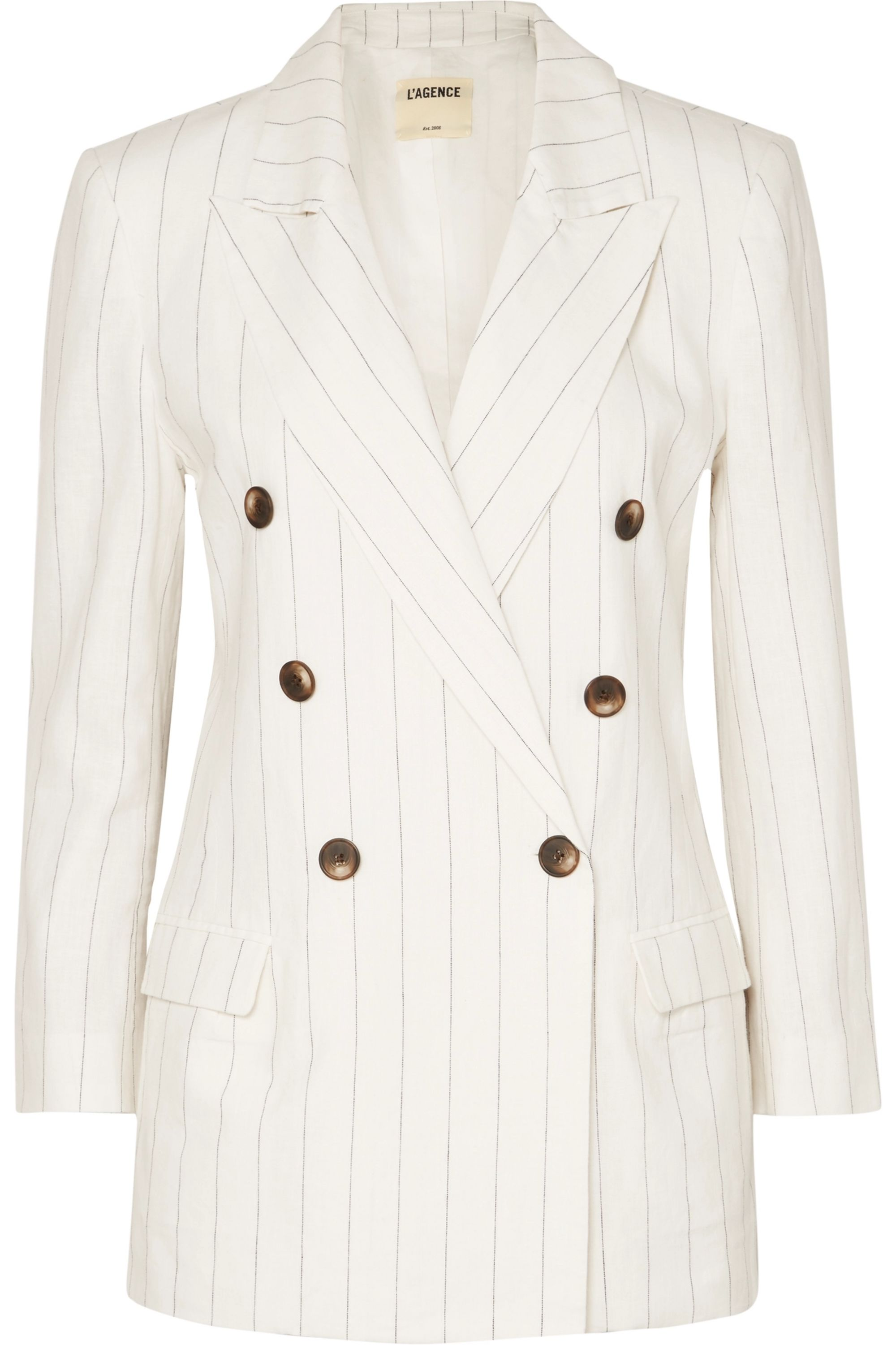 L'Agence Brea pinstriped linen and cotton-blend blazer