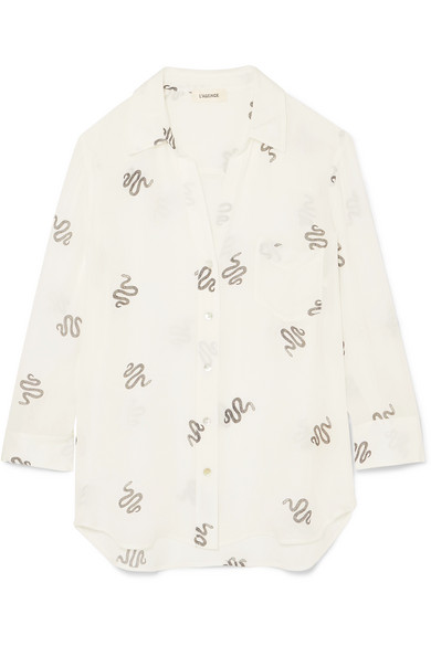 Ryan Printed Silk-Georgette Shirt, Cream