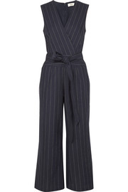 Joslyn pinstriped linen and cotton-blend canvas jumpsuit